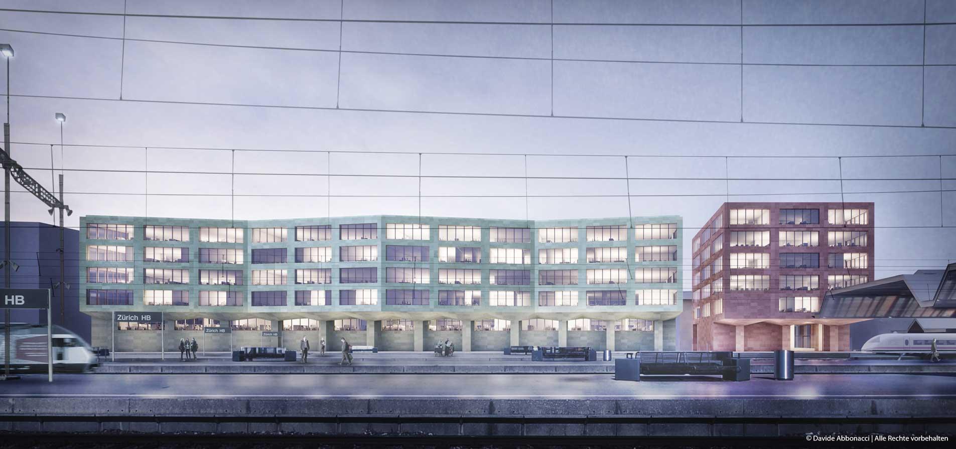 Neubau Zollstrasse Ost, Zürich | Kuehn Malvezzi Architekten | 2014 Wettbewerbsvisualisierung | 3. Preis