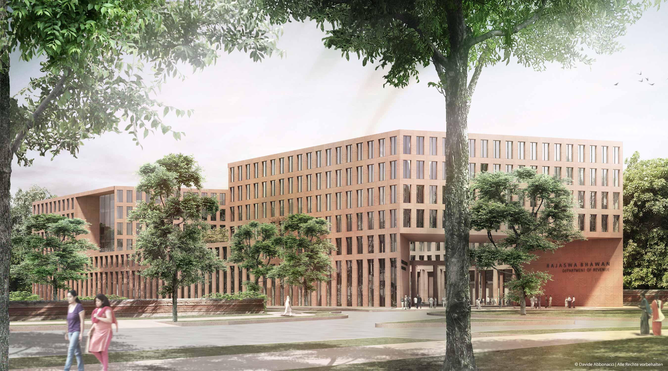National Tax Headquarter, New Delhi, Indien   gmp Architekten von Gerkan, Marg und Partner   2011 Wettbewerbsvisualisierung