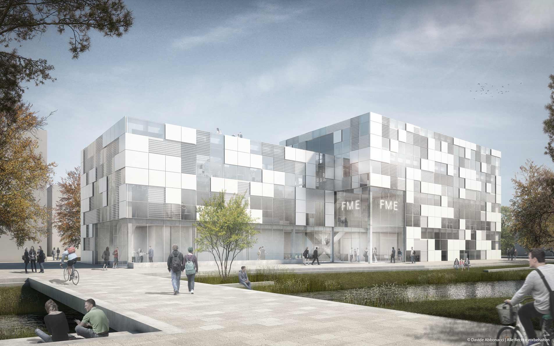 Neubau des Fachbereichs Maschinenbau und Energietechnik (ME) THM, Gießen   Erchinger Wurfbaum Architekten   2015 Wettbewerbsvisualisierung