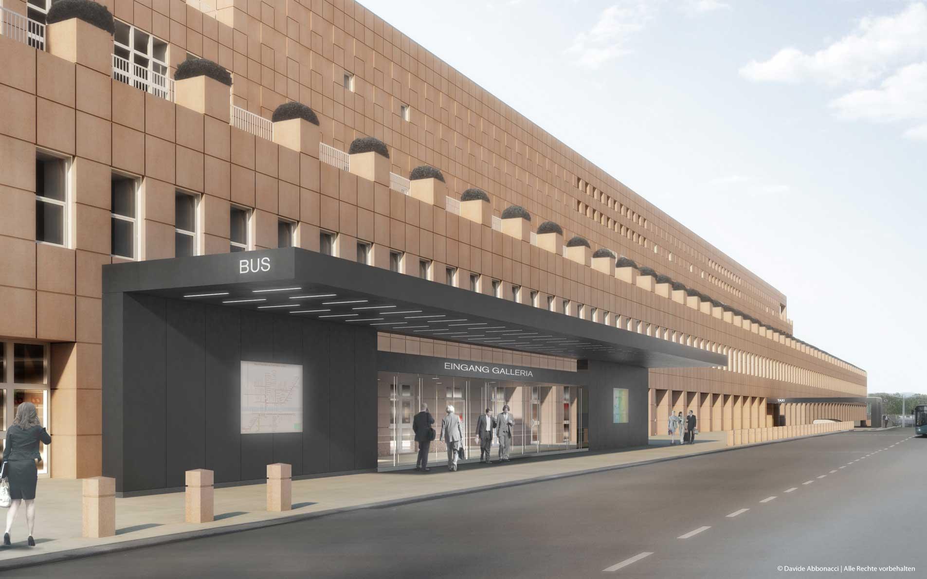Eingang Galleria und Messehalle 9.T, Messe Frankfurt   Ingo Schrader Architekt   2012 Wettbewerbsvisualisierung   1. Preis