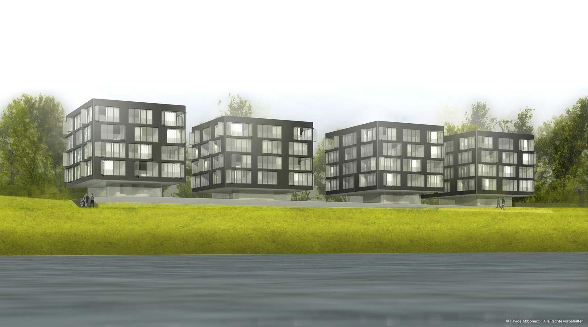 :rhein - Wohnen am Strom, Köln | Heide - Von Beckerath - Alberts Architekten | 2007 Wettbewerbsvisualisierung | 3. Preis