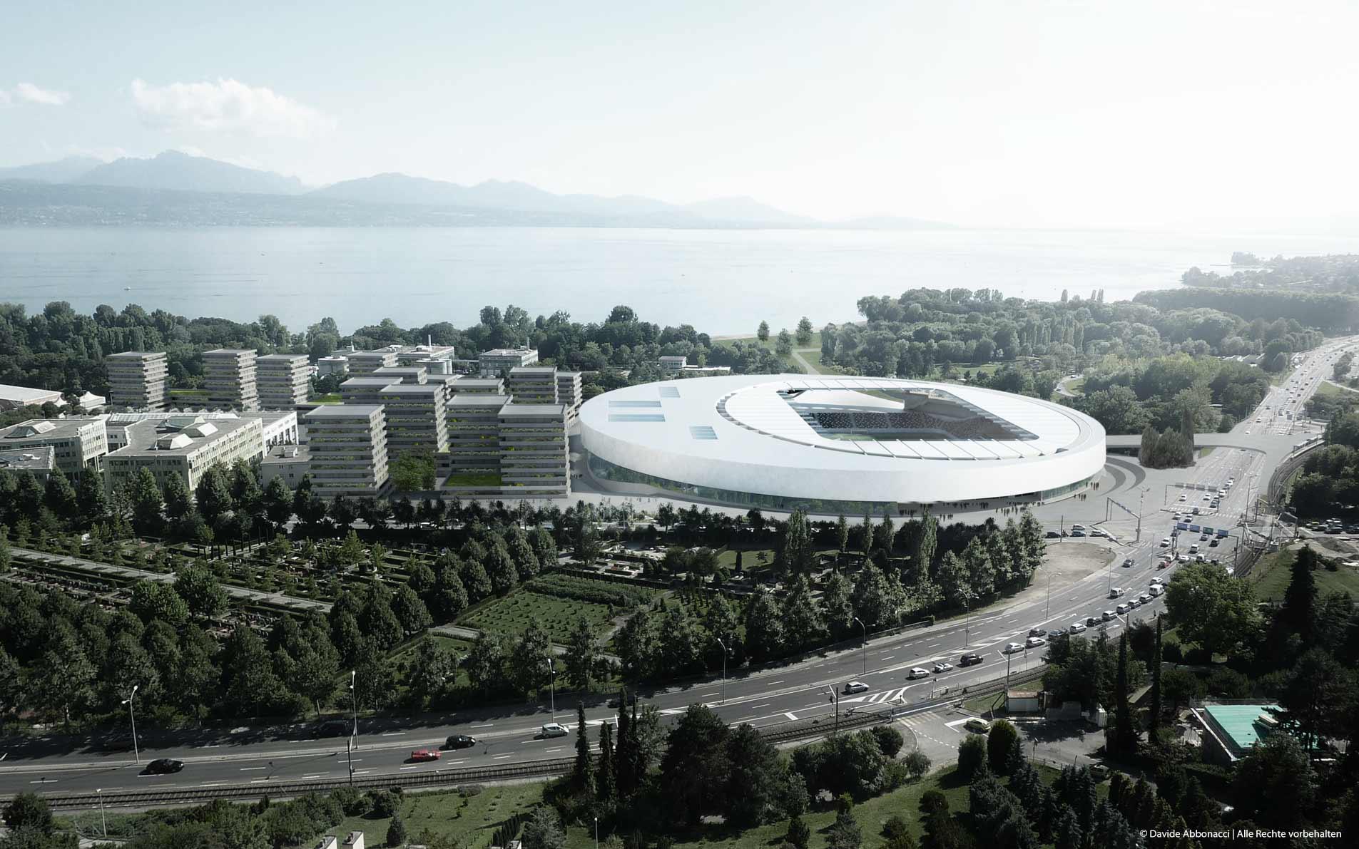 Sportkomplex und städtebauliche Neuordnung, Lausanne, Schweiz | gmp Architekten von Gerkan, Marg und Partner | 2011 Wettbewerbsvisualisierung | 1. Preis