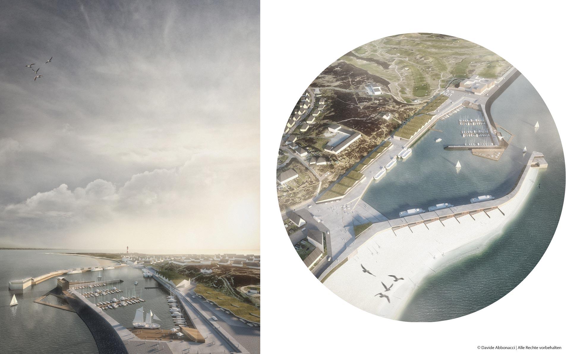 Hörnumer Hafen, Sylt   gmp Architekten von Gerkan, Marg und Partner mit Patrik Dierks Architekten   2017 Wettbewerbsvisualisierung   1. Preis