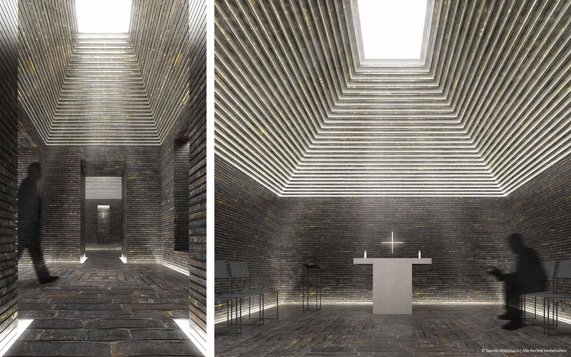 Raum der Stille - Flughafen Berlin Brandenburg Willy Brandt (BER) | gmp Architekten von Gerkan, Marg und Partner | 2011 Wettbewerbsvisualisierung | 1. Preis