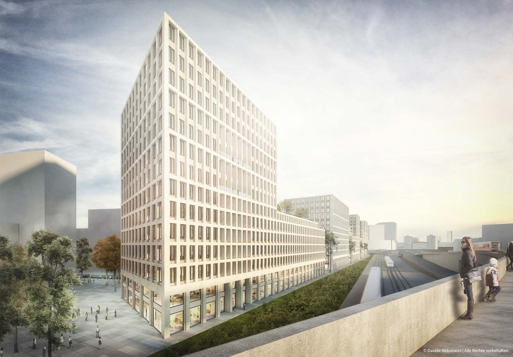 Europacity - Quartier Heidestraße Gewerberiegel, Berlin   gmp Architekten von Gerkan, Marg und Partner   2017 Wettbewerbsvisualisierung   3. Preis