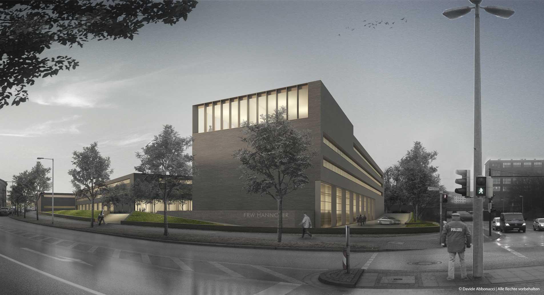 Feuer- und Rettungswache, Hannover | gmp Architekten von Gerkan, Marg und Partner | 2012 Wettbewerbsvisualisierung | 2. Preis