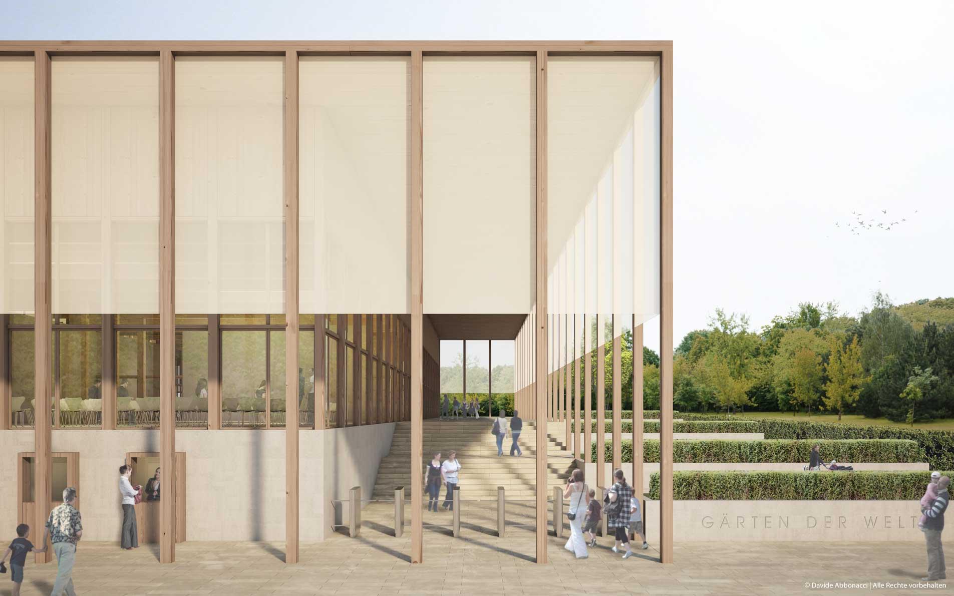 Besucherzentrum Gärten der Welt, Berlin | Georg Scheel Wetzel Architekten | 2013 Wettbewerbsvisualisierung