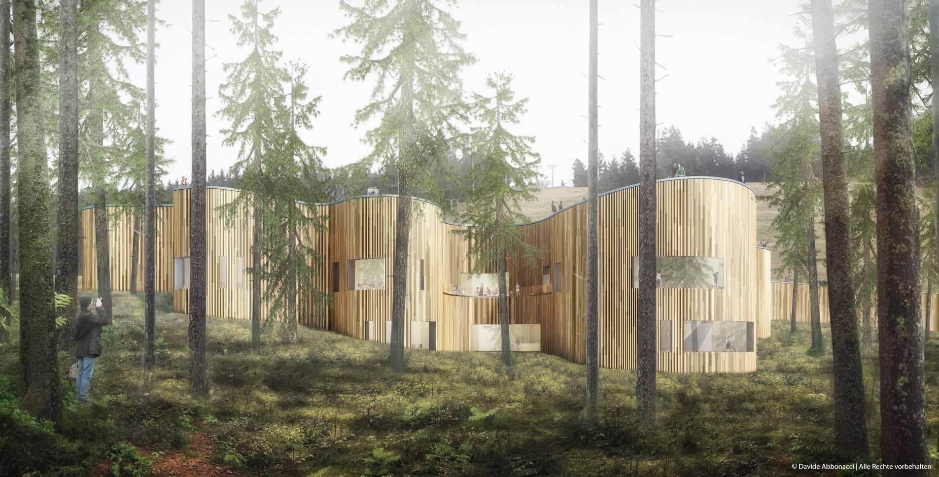 Besucherzentrum für Nationalpark Schwarzwald | Anne Kleinlein Architektin | 2015 Wettbewerbsvisualisierung | 3. Preis