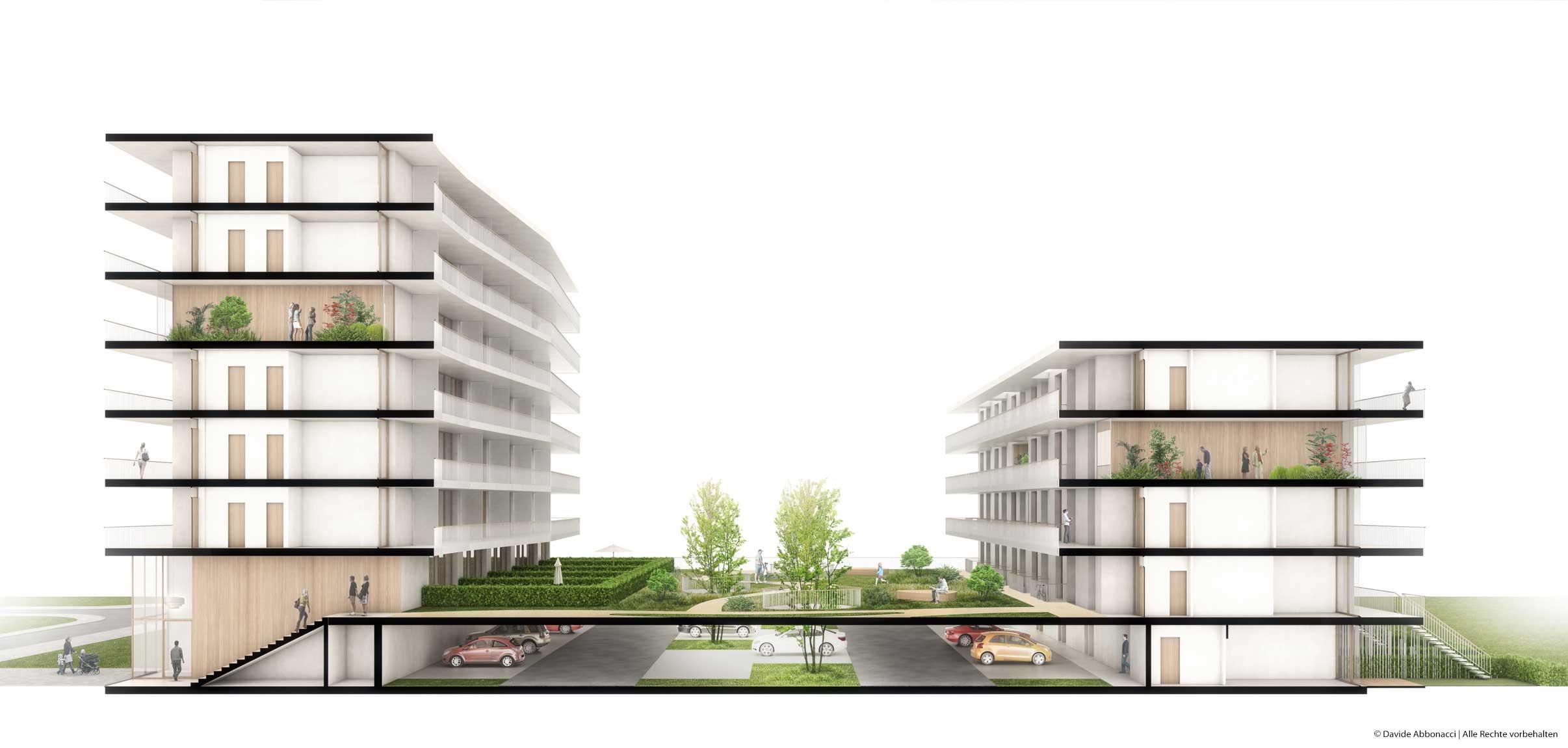 Wohnungsbau Weißenseer Weg 15, Berlin-Weißensee   brh Architekten + Ingenieure   2015 Wettbewerbsvisualisierung   1. Preis