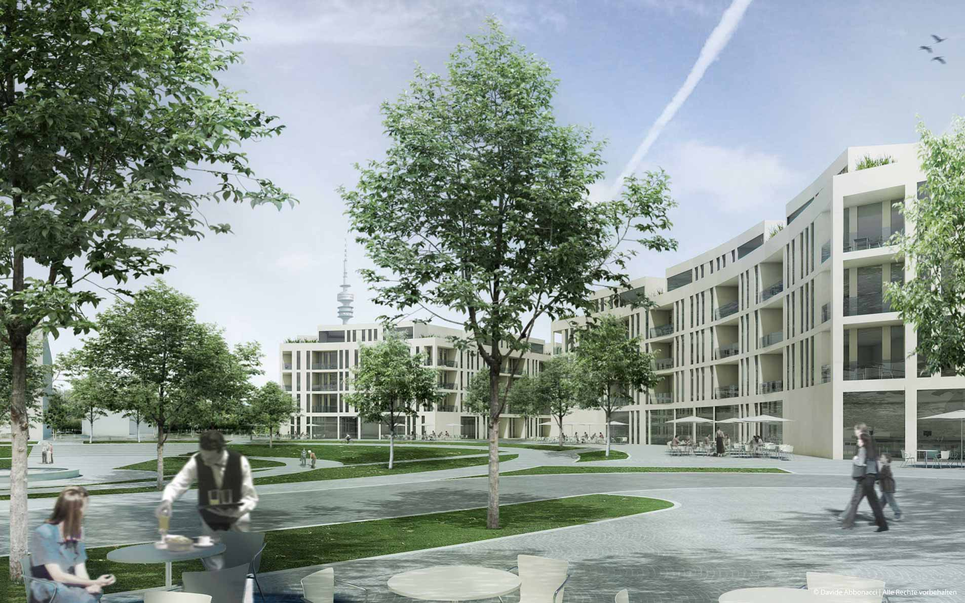Olympisches Dorf und Mediendorf, München | gmp Architekten von Gerkan, Marg und Partner | 2010 Wettbewerbsvisualisierung | 5. Preis