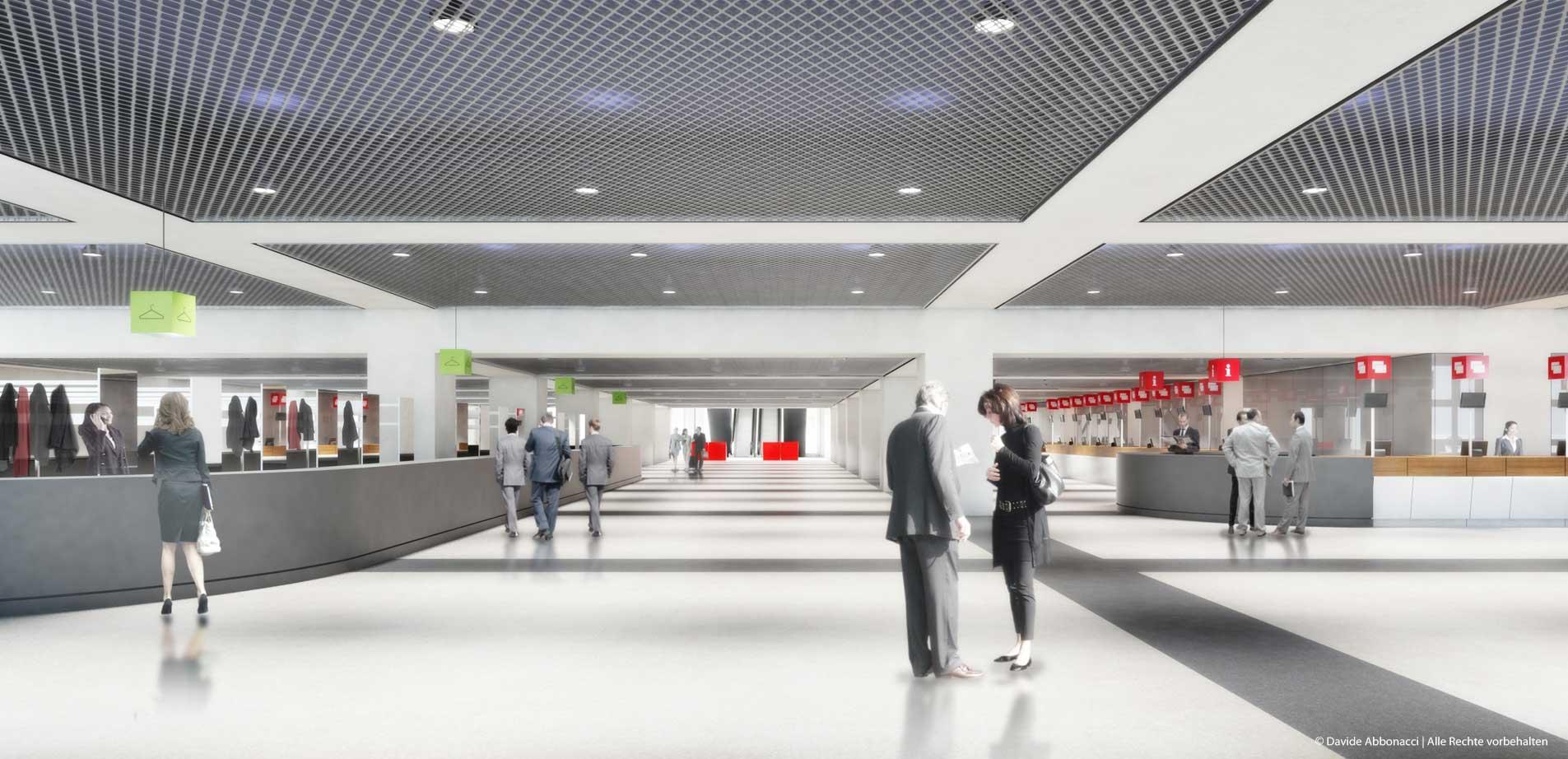 Eingang Galleria und Messehalle 9.T, Messe Frankfurt | Ingo Schrader Architekt | 2012 Wettbewerbsvisualisierung | 1. Preis