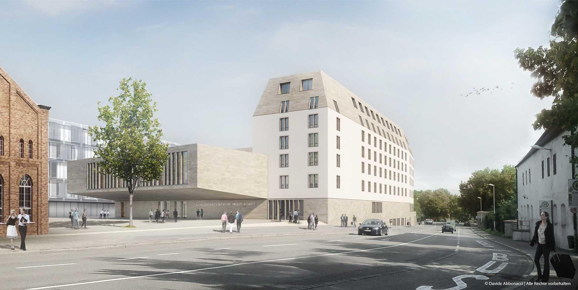 Fassade vom Hotel und Kongresszentrum Ingolstadt | Kuehn Malvezzi Architekten | 2012 Wettbewerbsvisualisierung | 1. Preis