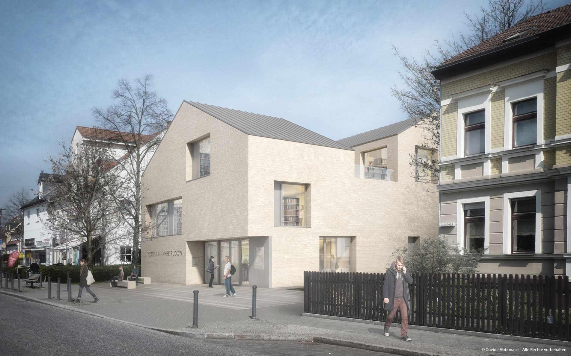 Stadteilbibliothek Rudow, Berlin | Wieland Vajen Architekt | 2015 Wettbewerbsvisualisierung | 1. Preis