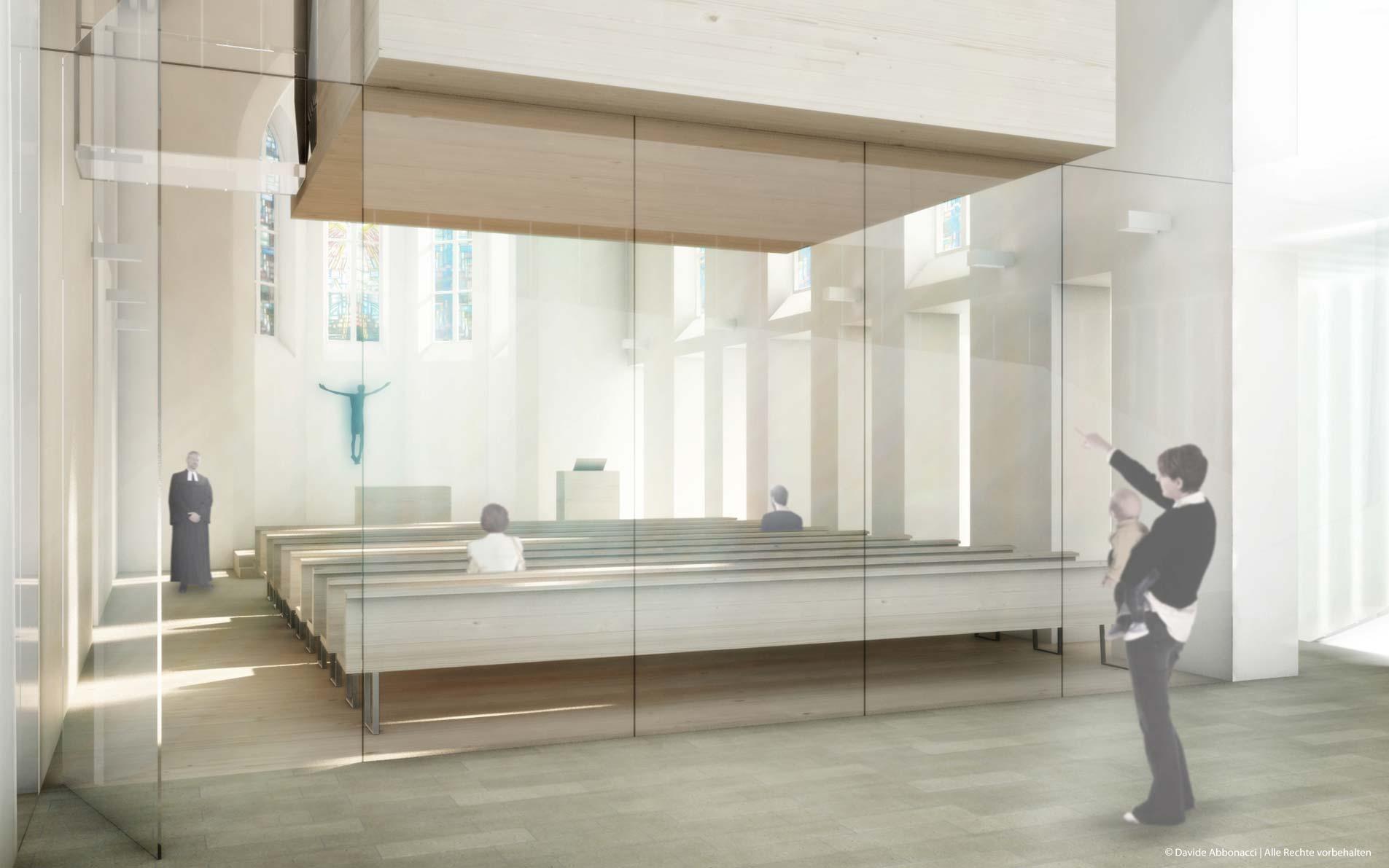 Umgestaltung der Auferstehungskirche, Überlingen | Hübner + Erhard und Partner Architekten | 2012 Wettbewerbsvisualisierung