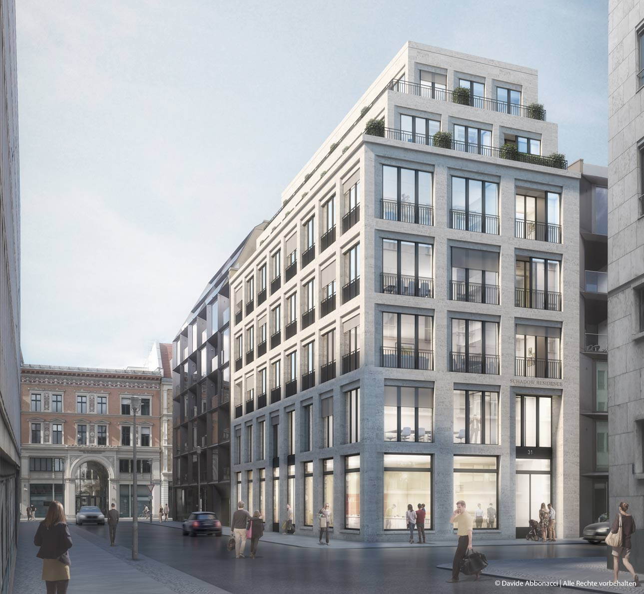 Wohn- und Geschäftshaus, Schadowstraße, Berlin | Wiegand Hoffmann Architekten | 2017 Wettbewerbsvisualisierung