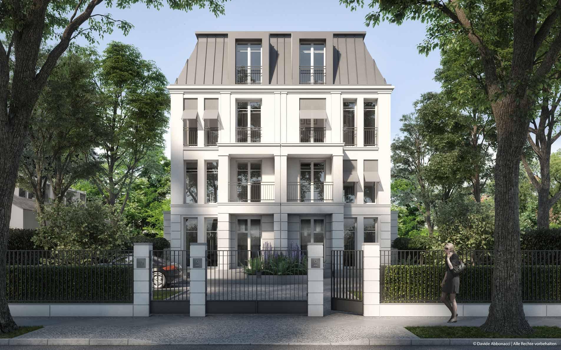 Neubau Villa, Winkler Straße, Berlin | hkt Architekten - PRIMUS Immobilien AG | 2017 Visualisierung für Immobilienmarketing
